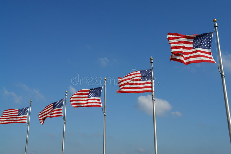 American Flags. Flags of USA with Blue Sky Background royalty free stock image