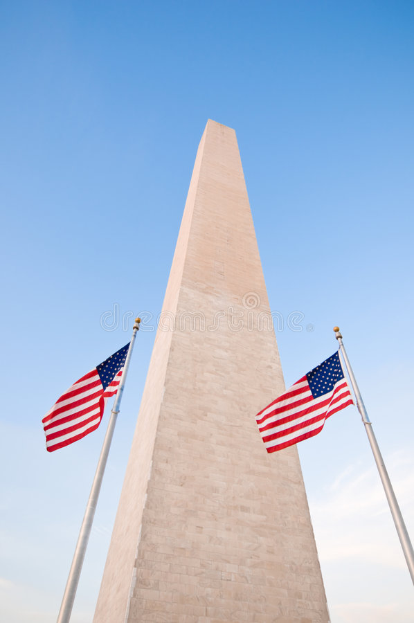 American flags around Washington Monument royalty free stock image