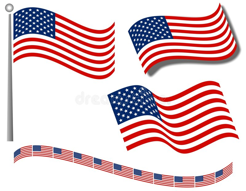 American Flags Clip Art and Divider royalty free illustration
