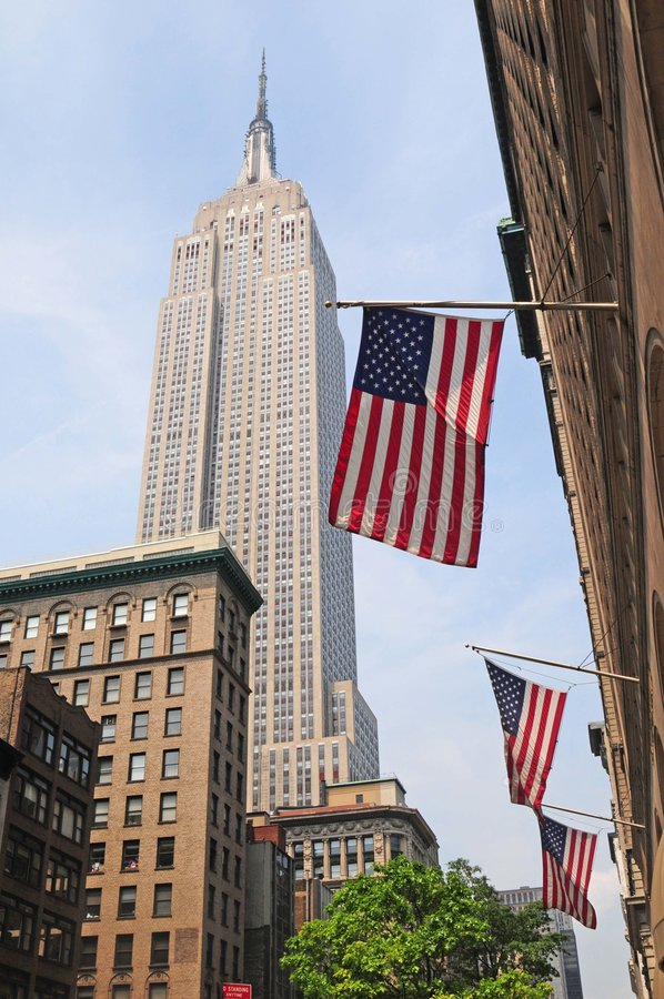 Download American Flags And Empire State Background Editorial Photography - Image: 7572877