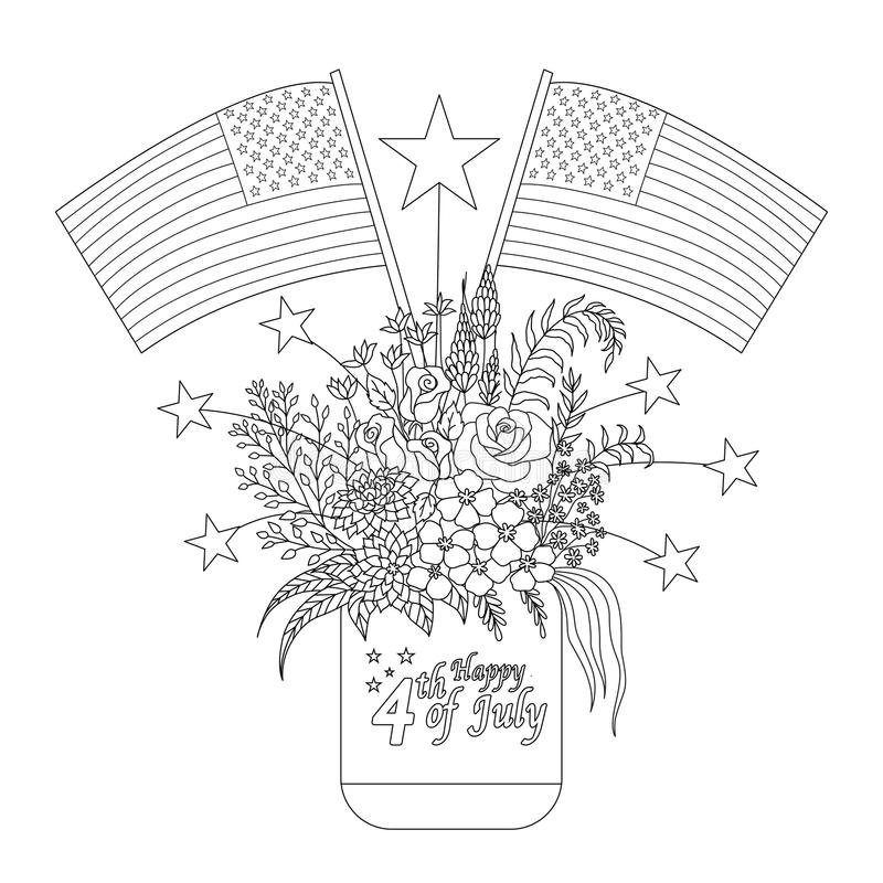 American flags on flowers and decorations on a mason jar for design element and coloring book page. Vector illustration royalty free illustration