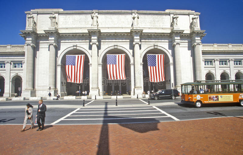 American flags fly at Union Station, Washington, DC royalty free stock images