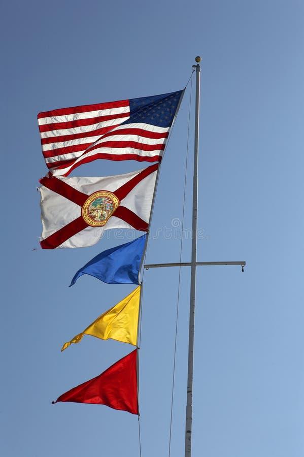 American Flags Flying On A Flag Pole Stock Photos