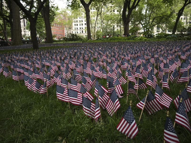 American flags hornoring Memorial Day in New York City royalty free stock photos