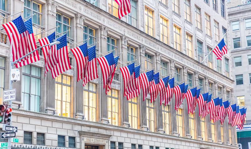 American flags in Manhattan New York downtown stock photos