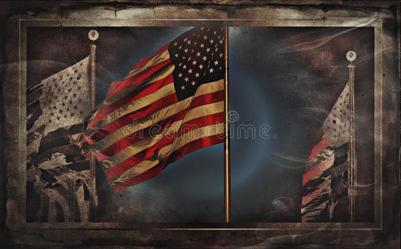 American Flags Or US Flag. Image of American Flags Or US Flag royalty free stock photos