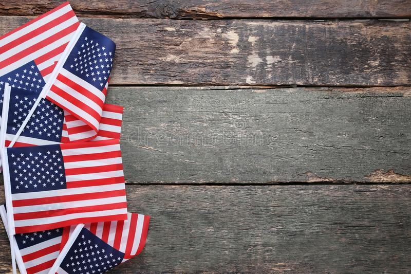 American flags. On wooden table royalty free stock photos
