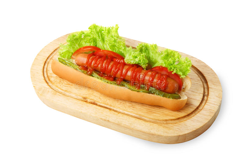 American food - hot dog with lettuce stock photos
