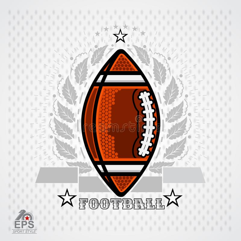 American football ball in center of silver wreath on light background. Sport logo royalty free illustration