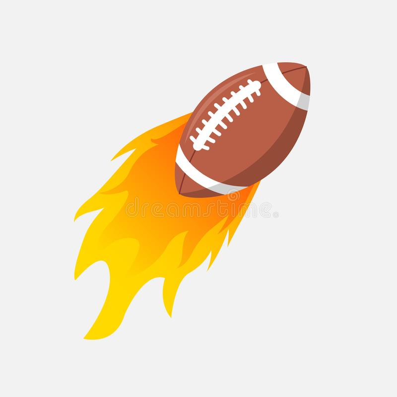American Football ball in fire flame. Rugby fireball cartoon icon. Fast ball logo in motion isolated royalty free illustration