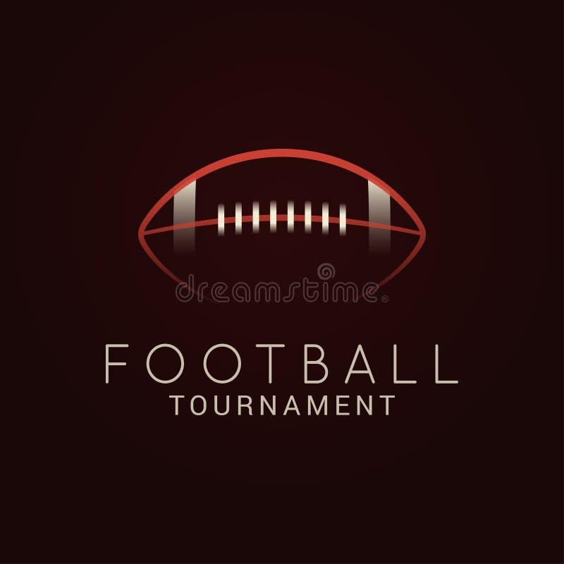 American football. Ball tournament logo on black stock illustration