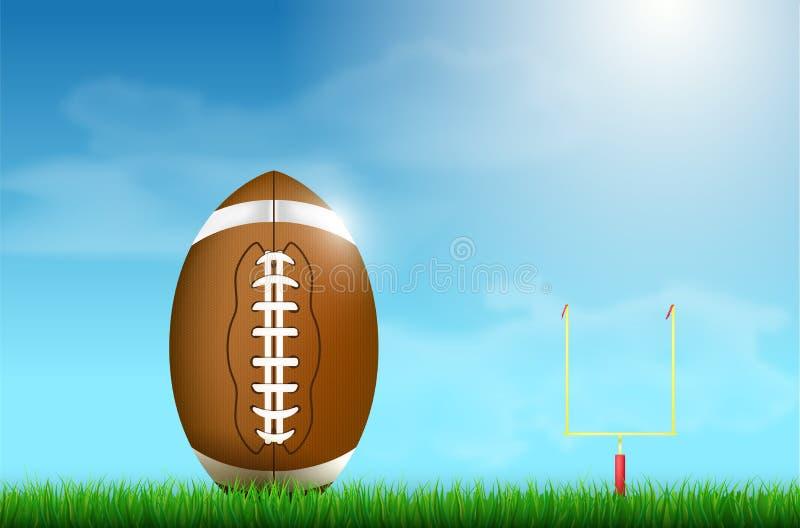 American football ball on grass and goal under blue sky vector illustration
