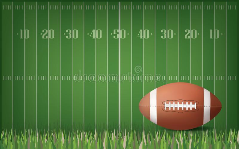 American football ball with green field pattern background. Vector. stock illustration