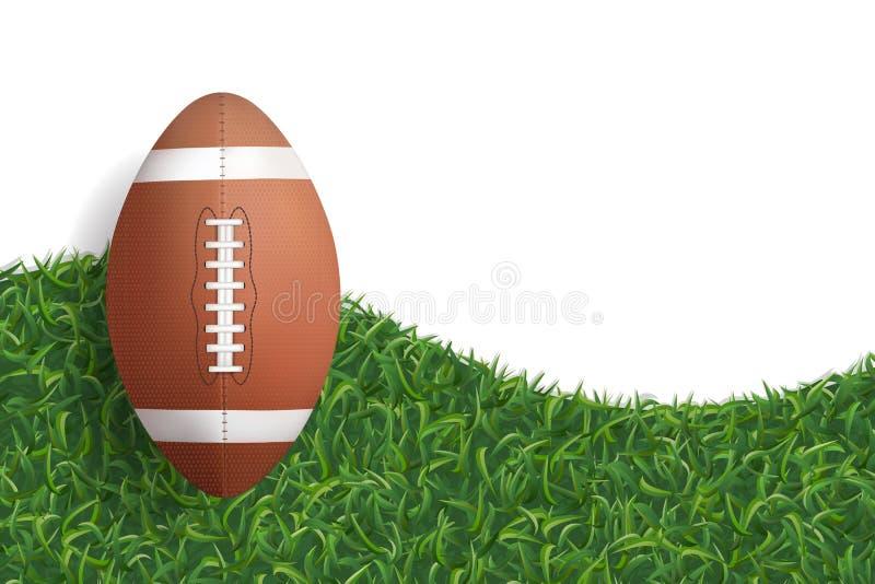 American football ball on green grass texture background. Vector. stock illustration