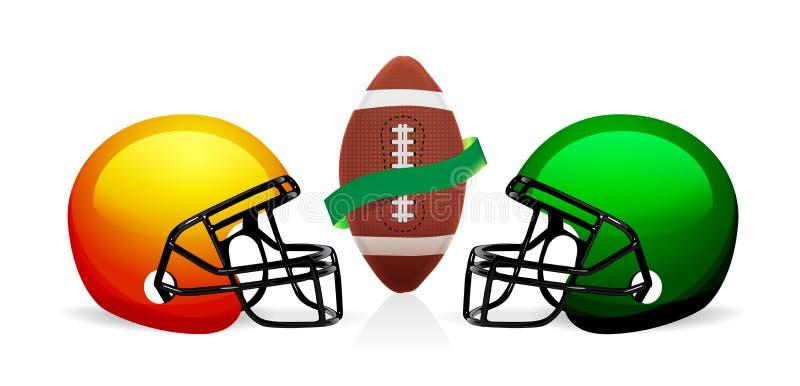 American football ball and helmet vector vector illustration