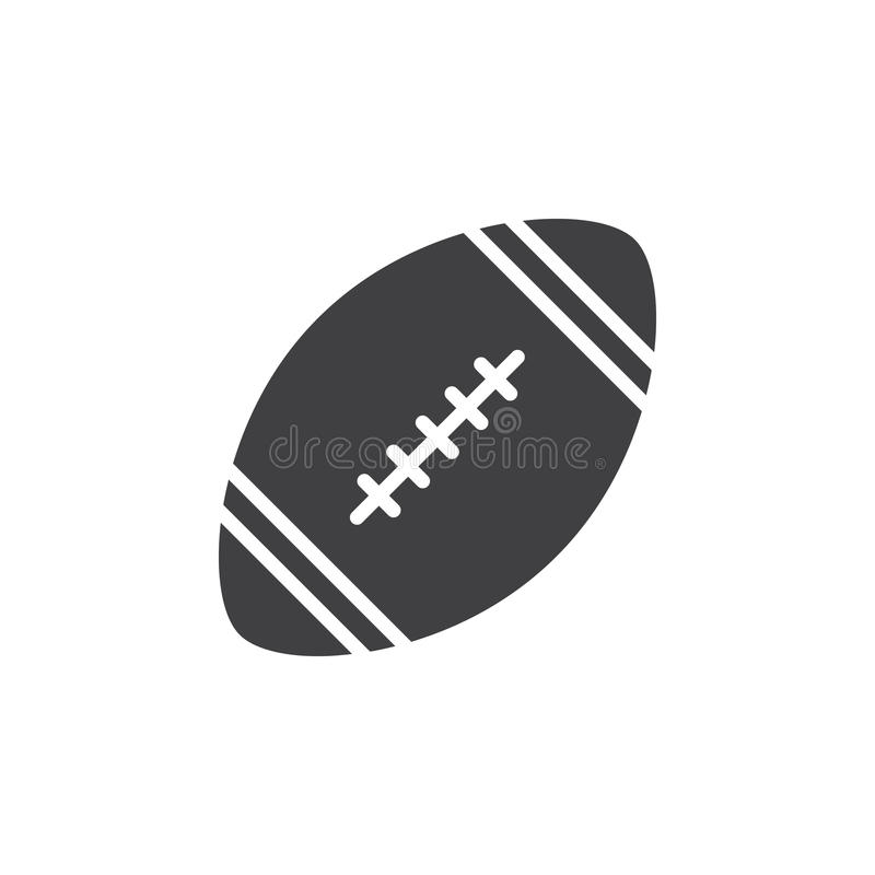 American football ball icon vector, filled flat sign, solid pictogram isolated on white. stock images