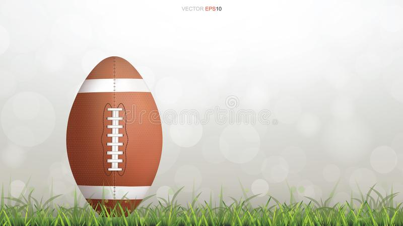 American football ball or rugby football ball on green grass. vector illustration