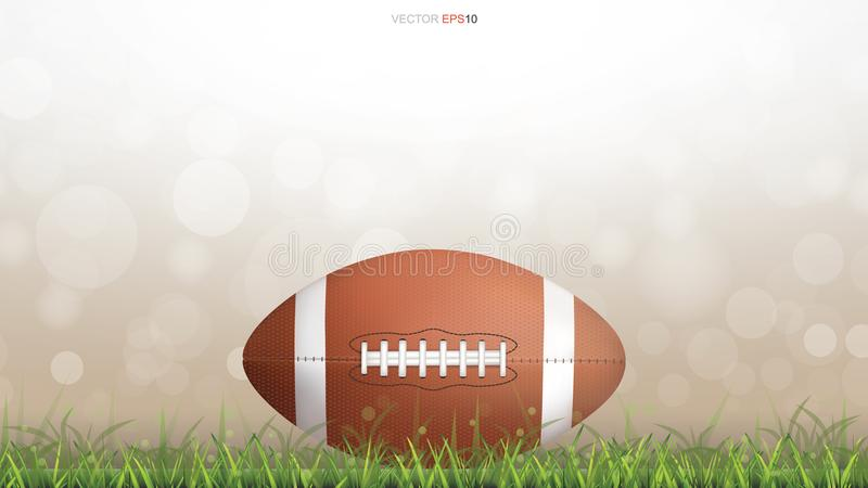 American football ball or rugby football ball on green grass court. vector illustration