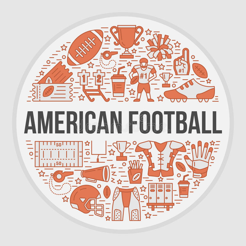 American football banner with line icons of ball, field, player, whistle, helmet stock illustration