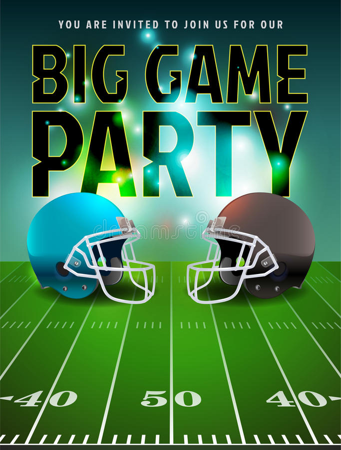 American Football Big Game Party Poster. American football big game party illustration. Vector EPS 10 available. EPS file contains transparencies and gradient stock illustration