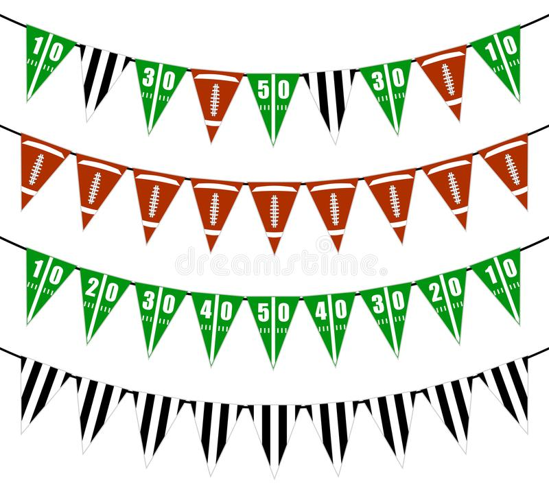 American football bunting flags party decoration vector illustration