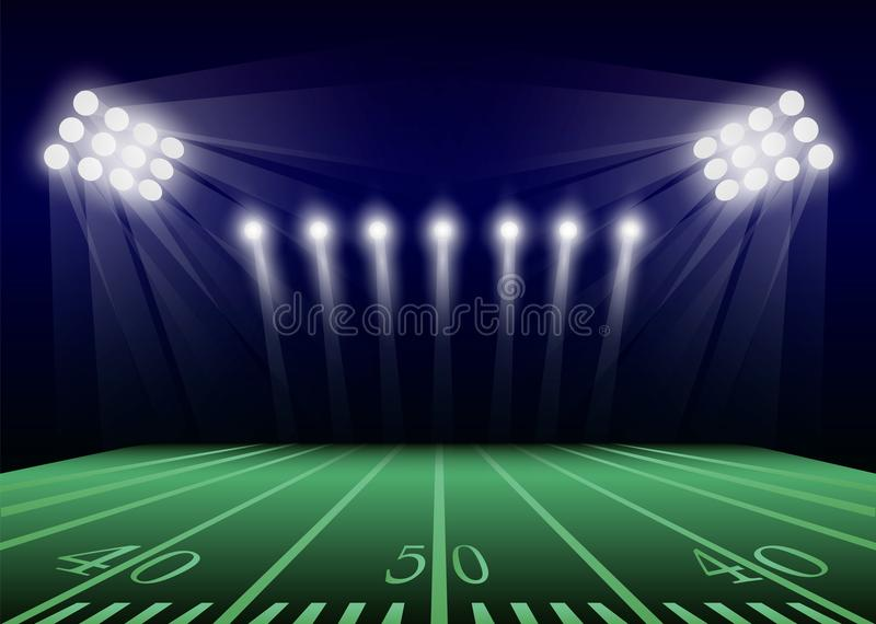 American football field concept background, realistic style. American football field concept background. Realistic illustration of american football field vector royalty free illustration