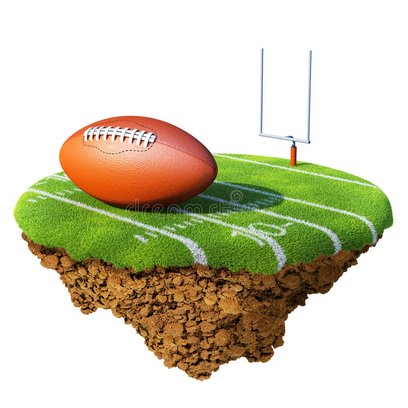 American football field, goal and ball based on li royalty free illustration
