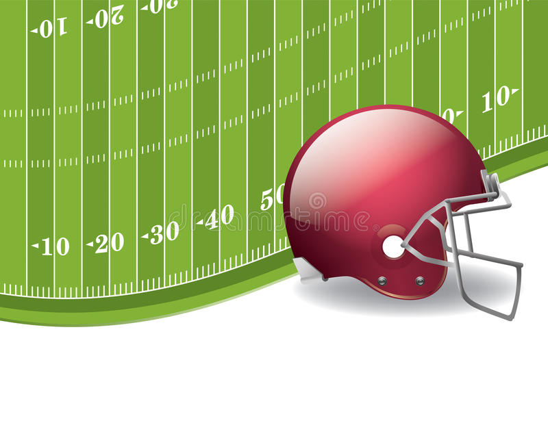 American Football Field and Helmet Background royalty free illustration