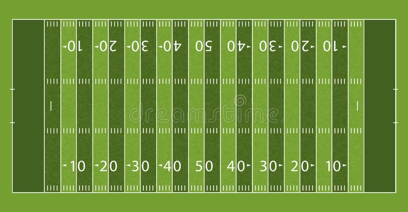 American Football Field with Line and Grass Texture. Vector illustration royalty free illustration