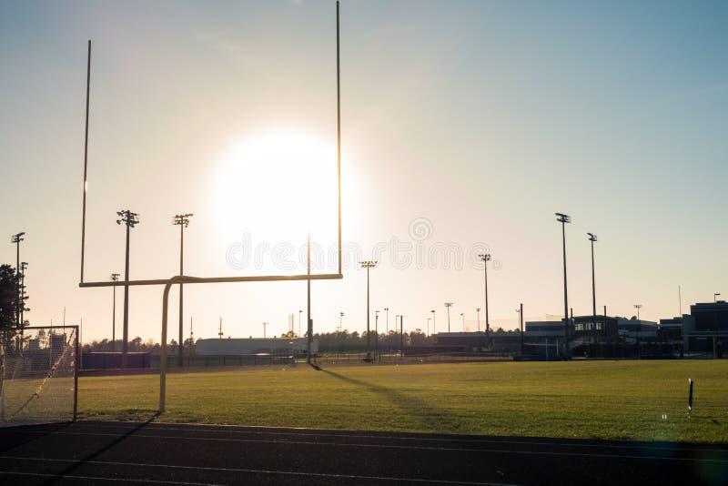 American Football Field Outdoors Goal Posts Green Grass Beautiful Day stock photos