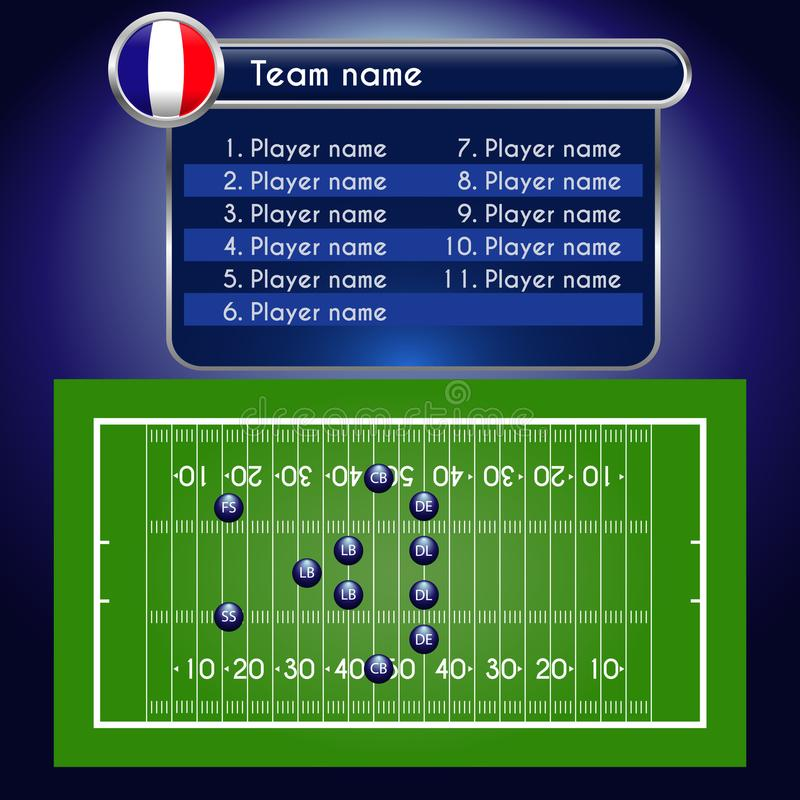 American Football field and Player Lineup with set of rugby infographic elements. stock illustration