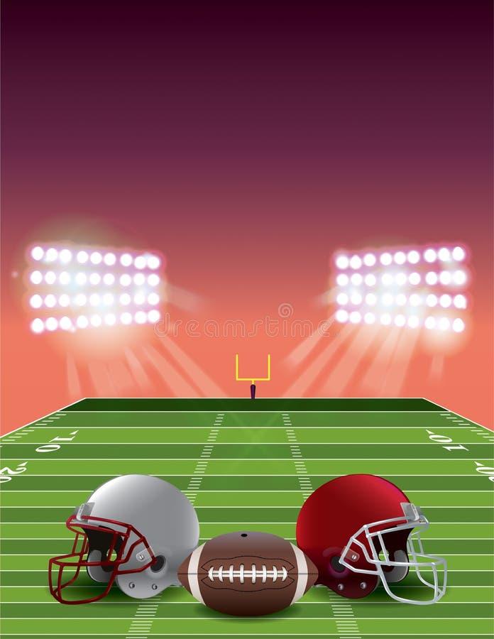 American Football Field at Sunset stock illustration