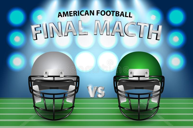 American football final match concept. Silver and green Helmets. On field with spotlight background. Vector Illustration royalty free illustration