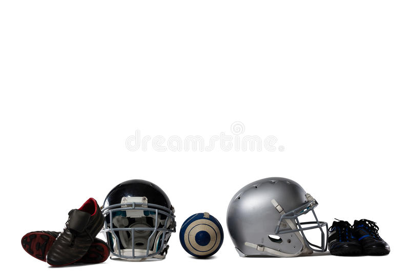 American football gears. On white background stock photo