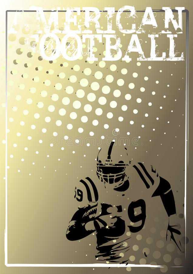American football golden poster background 3 vector illustration