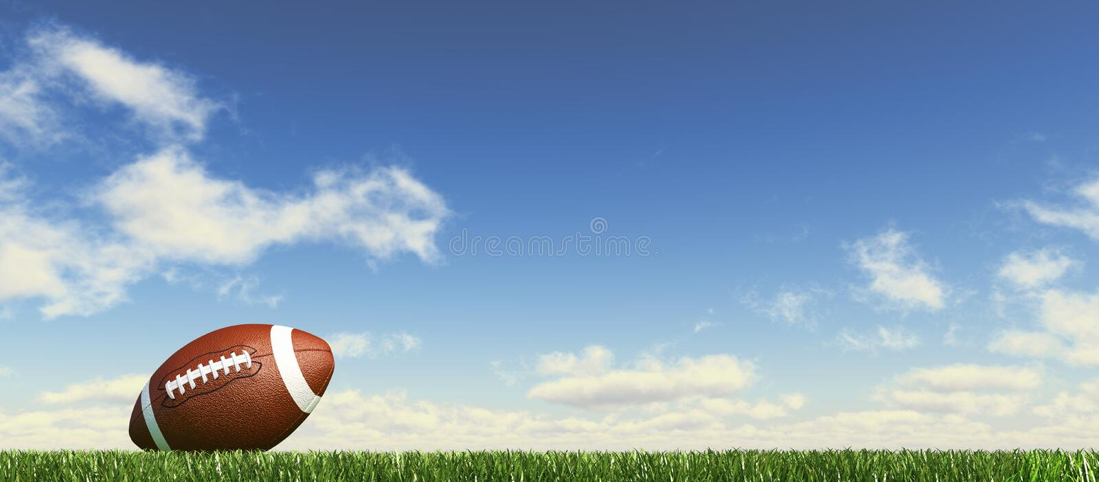 American football, on the grass, with fluffy clouds at the background. vector illustration