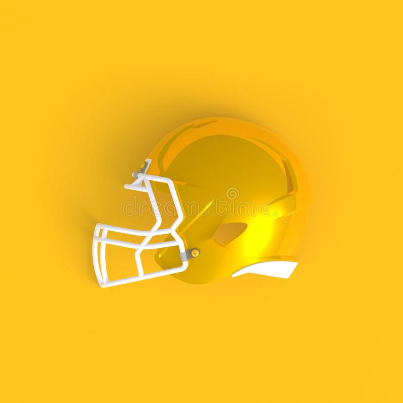American football helmet abstract minimal yellow background, Sport concept. 3d rendering vector illustration