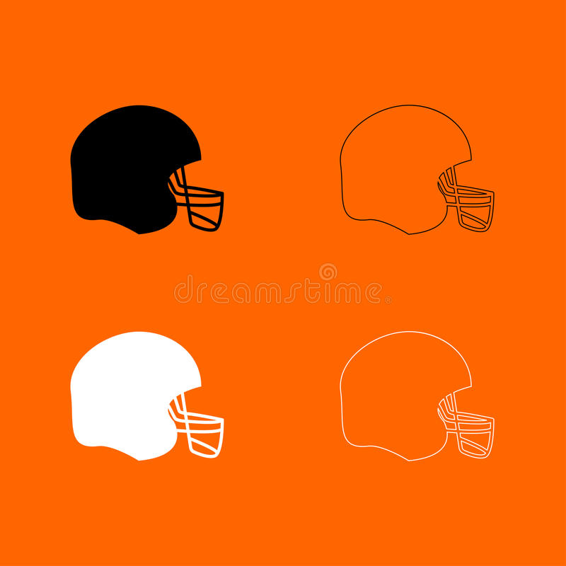 American football helmet black and white set icon . stock illustration