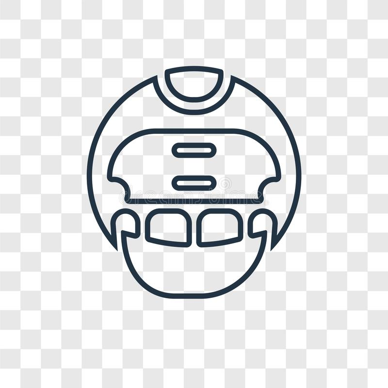 American Football Helmet concept vector linear icon isolated on. Transparent background, American Football Helmet concept transparency concept in outline style vector illustration