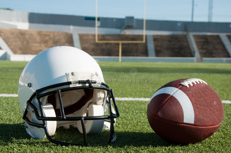 Download American Football And Helmet On Field Stock Image - Image: 15637991