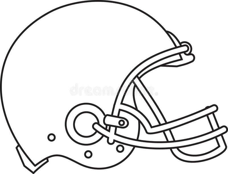 American Football Helmet Line Drawing. Line drawing illustration of an american football helmet viewed from the side done in black and white stock illustration