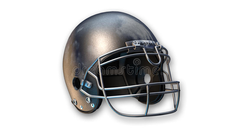 American football helmet, sports equipment on white background. Silver american football helmet, sports equipment isolated on white background royalty free stock photography