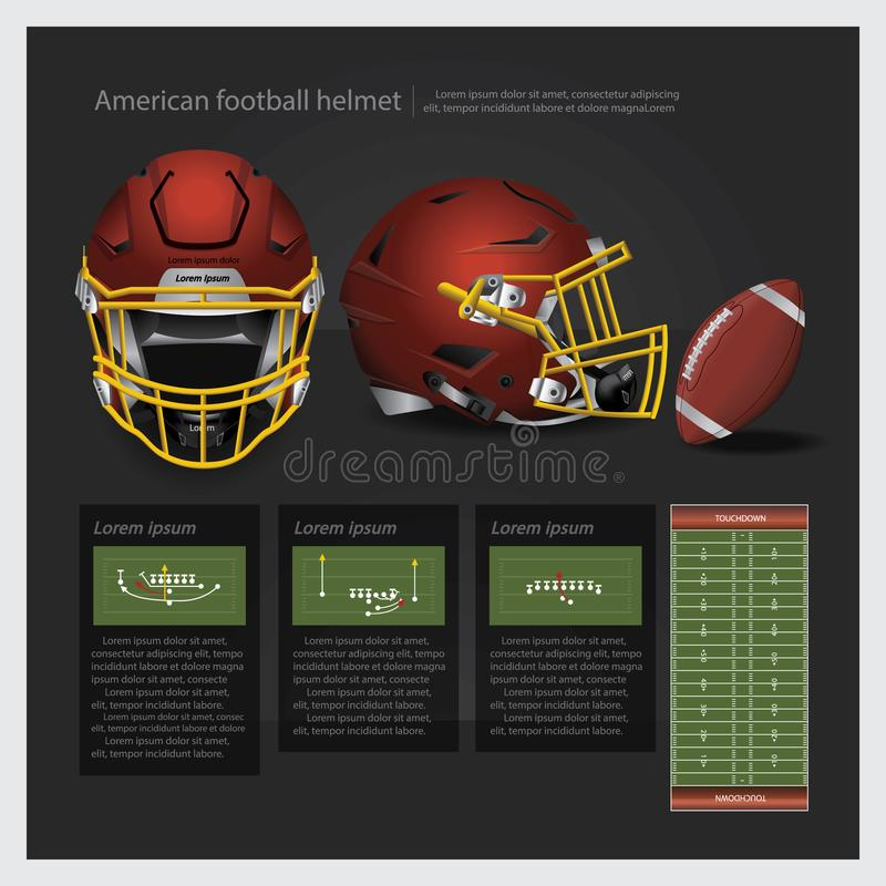 American football helmet with team plan stock illustration