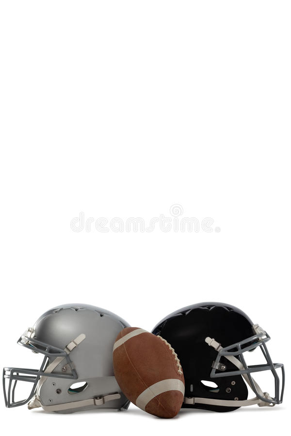 American football with helmets. On white background royalty free stock photography