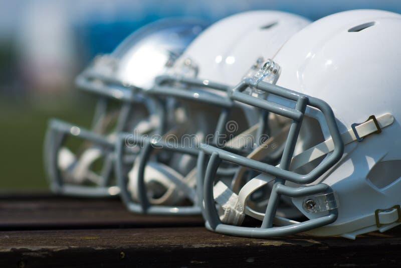 American football helmets stock photos