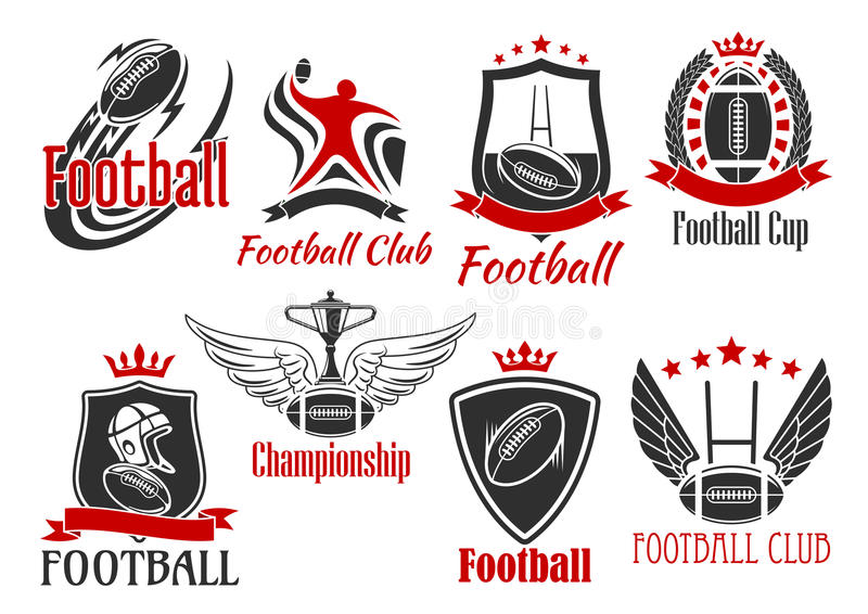 American football heraldic sports badges vector illustration