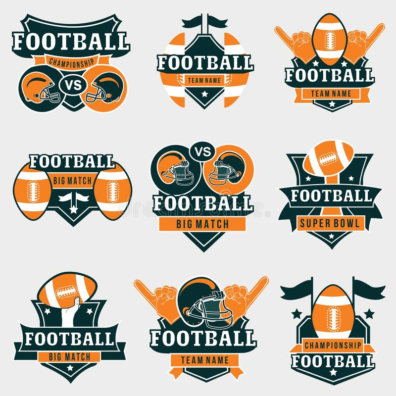 American Football Team, College Badges, Logos Stock Vector