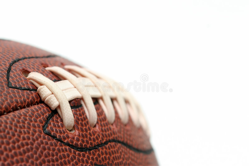 American football macro over white stock image