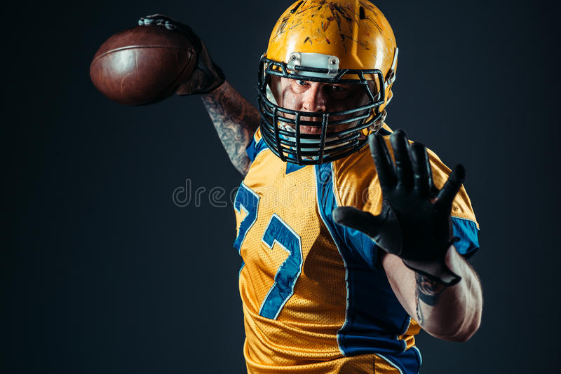 American football offensive player with ball royalty free stock images