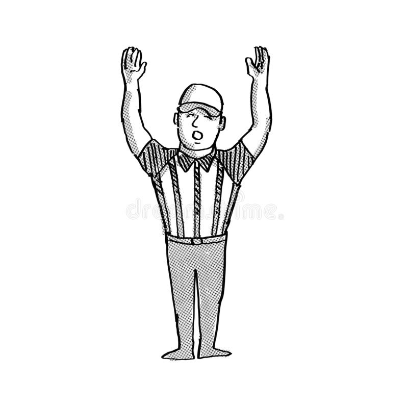 American Football Official  Cartoon Black and White royalty free illustration